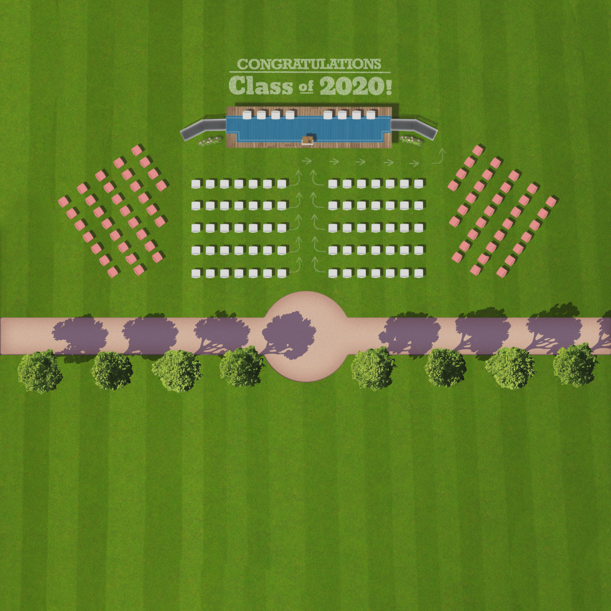 A stage with seating for a graduation ceremony, on a grassy field.